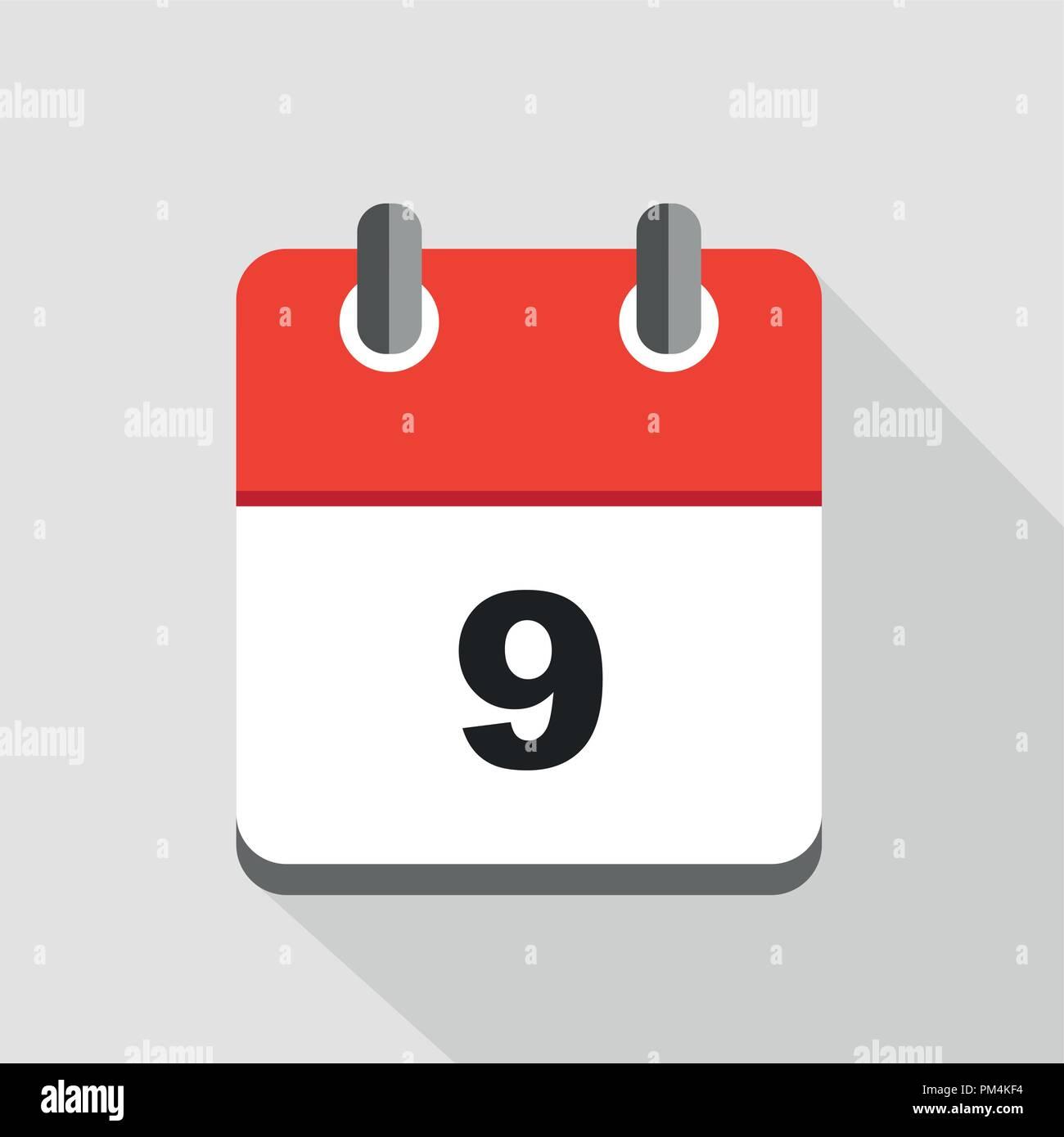 Calendario Icona.Illustrazione Vettoriale Di Rosso Calendario Icona 9 Eps10