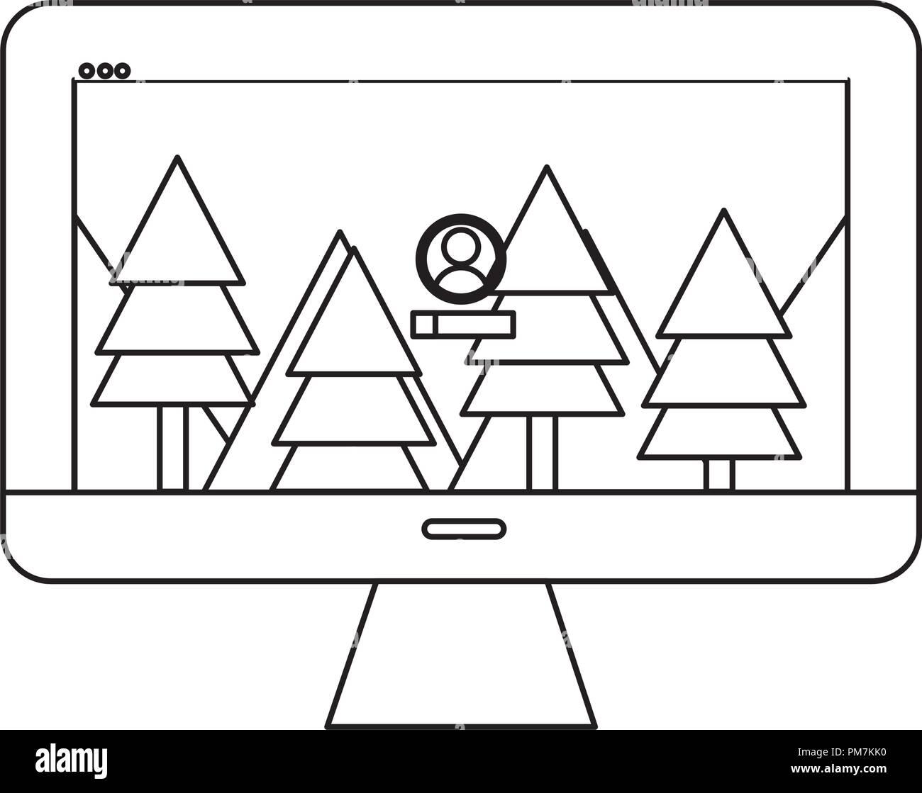 Profilo di calcolatore elettronico con paesaggio utente lo sfondo dello schermo Immagini Stock
