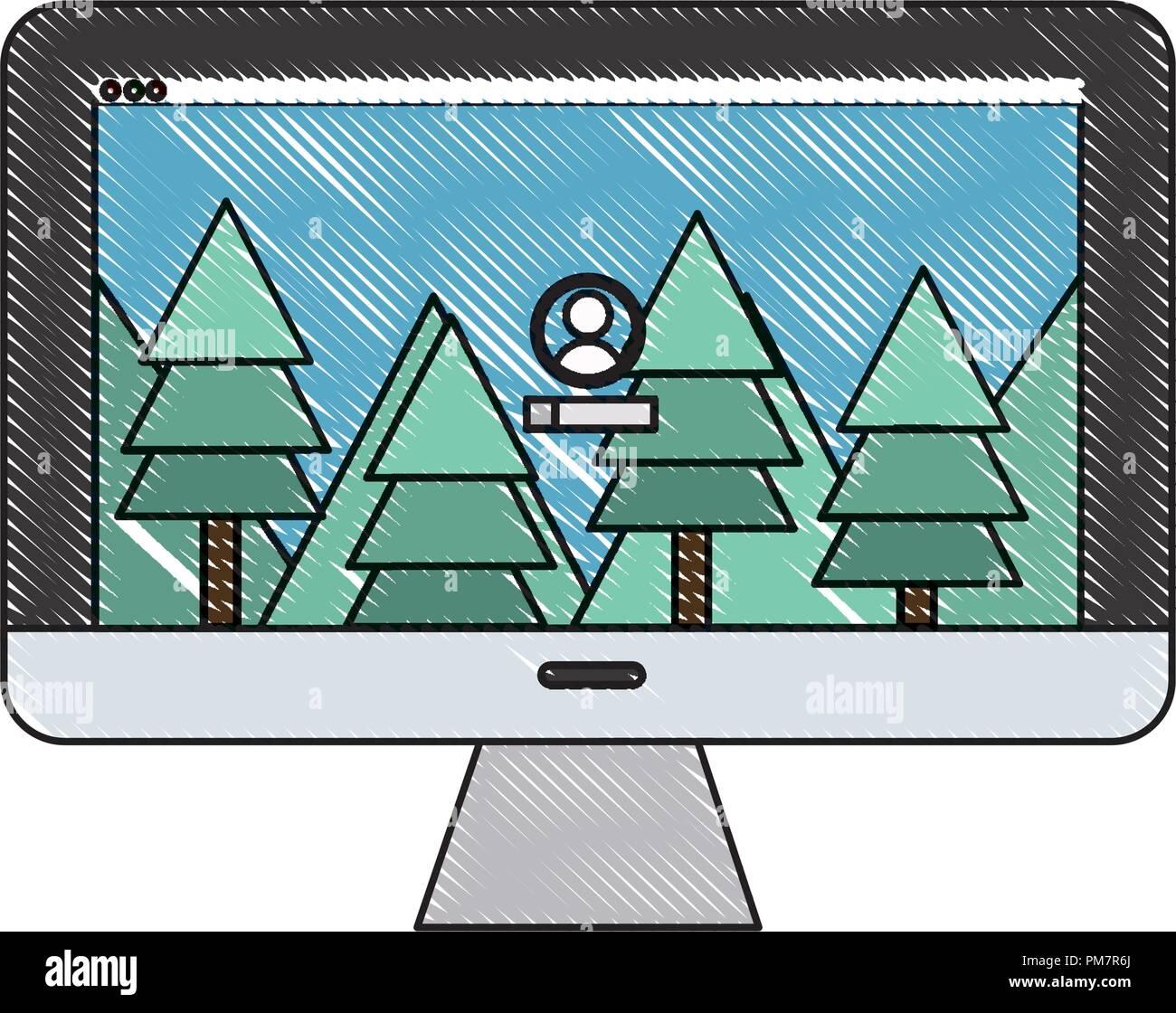 Grattugiato calcolatore elettronico con paesaggio utente lo sfondo dello schermo Immagini Stock