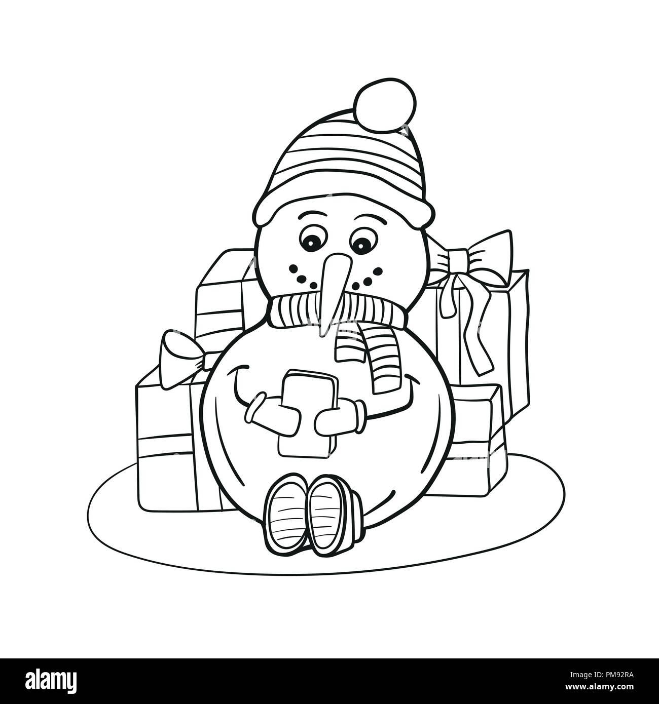 Delineate La Colorazione Di Pupazzo Di Neve Con Il Telefono