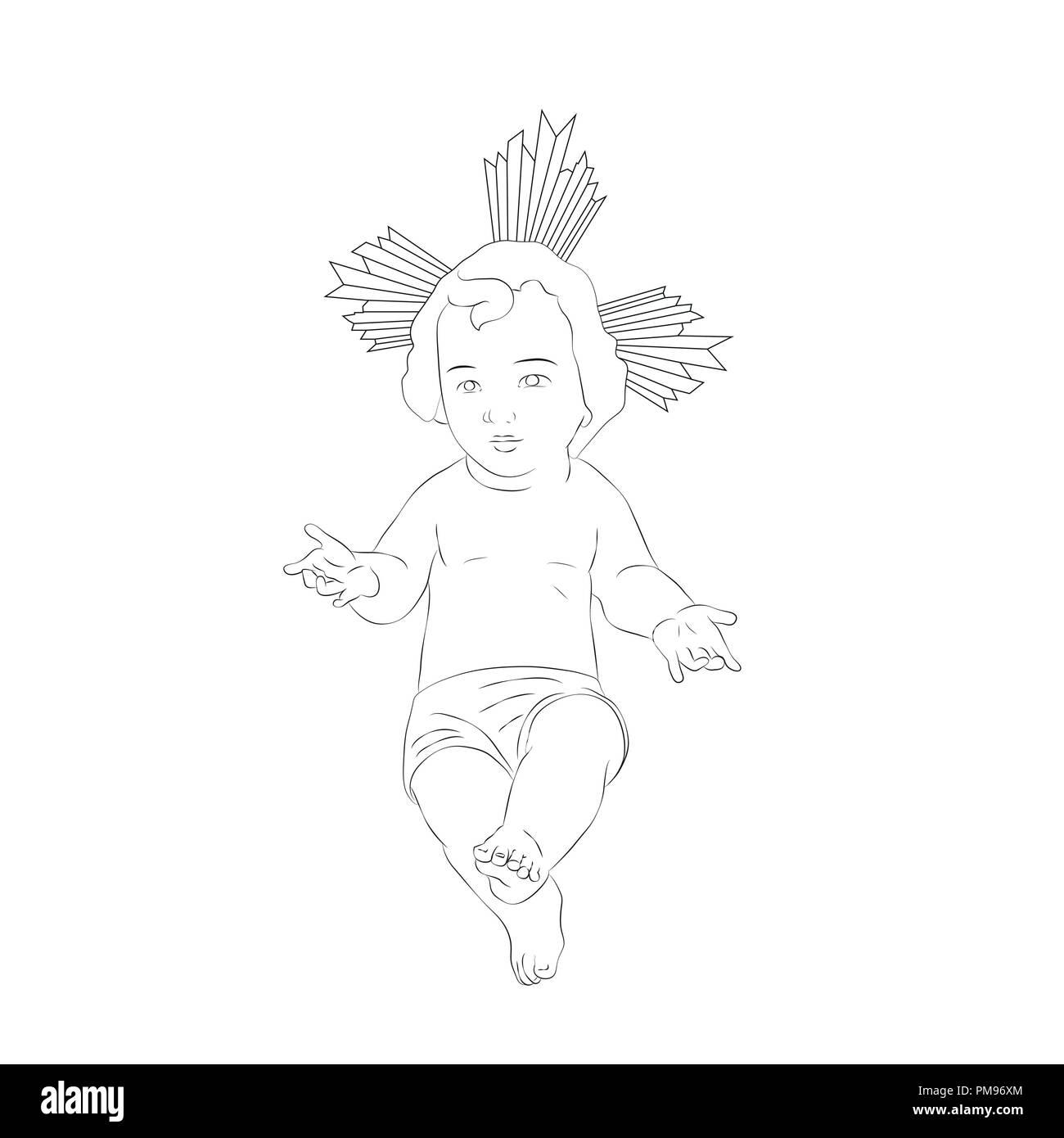 Immagine Di Gesù Bambino Disegno Della Natività Bianco E Nero