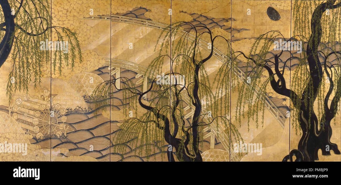 Verniciato Six-Panel Schermo (Uji ponte). Data/Periodo: 1800 - 1899. Lo schermo a scomparsa. Acquerello, foglia oro, carta, legno, madreperla e metallo. Autore: Sconosciuto. Immagini Stock