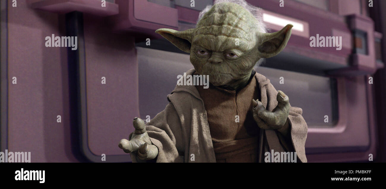 Jedi Master Yoda sa che ci sono momenti in cui essendo un pacifista appena wonÕt opera in Star Wars: Episodio III - La vendetta dei Sith. TM e © 2005 Lucasfilm Ltd. Tutti i diritti riservati. Immagini Stock