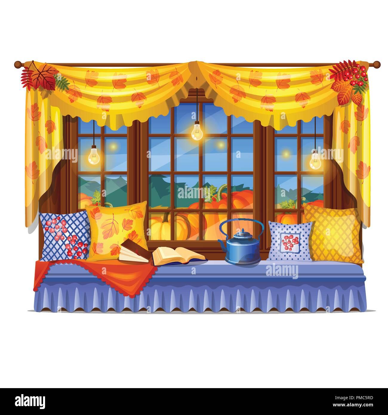 Davanzale Interno Della Finestra interni accoglienti home finestra. di sera la vista dalla