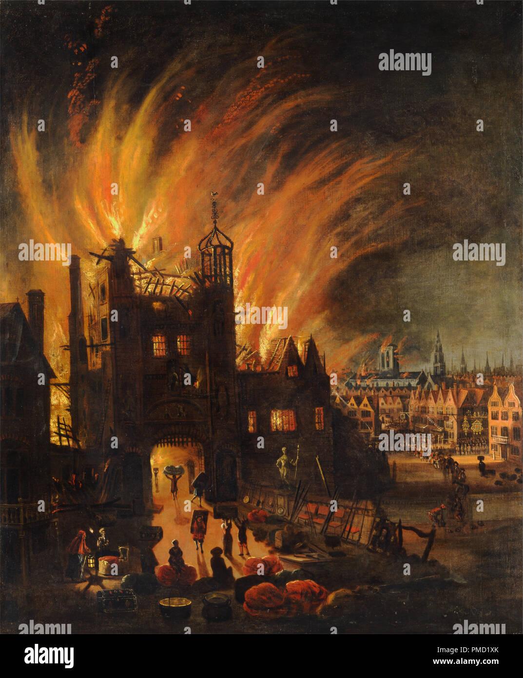 Il Grande Incendio di Londra, con Ludgate e Old San Paolo. Data/Periodo: ca. 1670. La pittura. Olio su tela. Altezza: 1346 mm (52.99 in); Larghezza: 1.108 mm (43.62 in). Autore: anonimo. Foto Stock