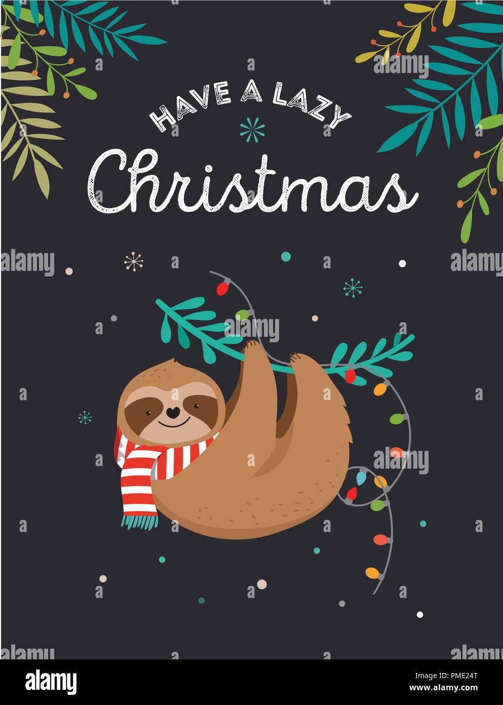 Babbo Natale Immagini Divertenti.Carino Bradipi Divertenti Illustrazioni Di Natale Con Babbo Natale