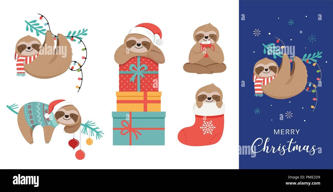 Biglietti Di Natale Divertenti.Carino Bradipi Divertenti Illustrazioni Di Natale Con Babbo Natale