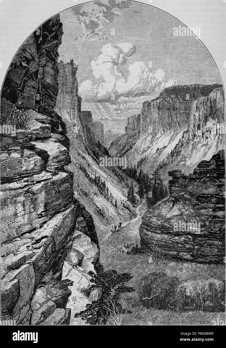 """Incisione del William's Canyon, Colorado Springs, dal libro """"Pacifico turisti"""", 1877. La cortesia Internet Archive. () Immagini Stock"""