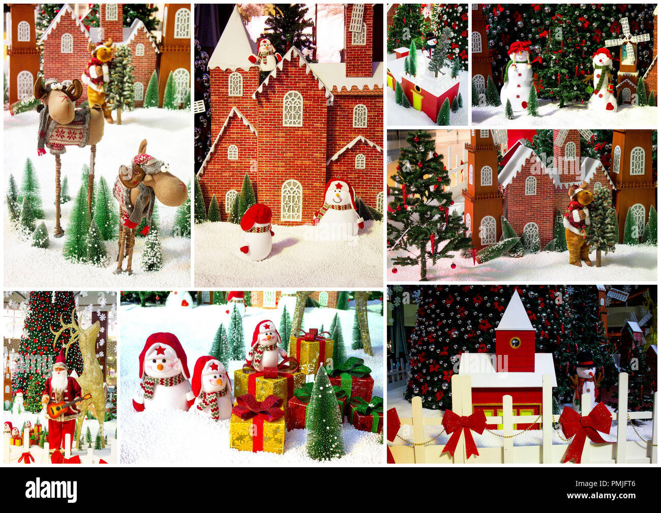 Foto Collage Di Natale.Collage Buon Natale E Felice Anno Nuovo Bigliettino Sfondo Di Natale Con Albero Di Natale E Pupazzo Di Neve Foto Stock Alamy