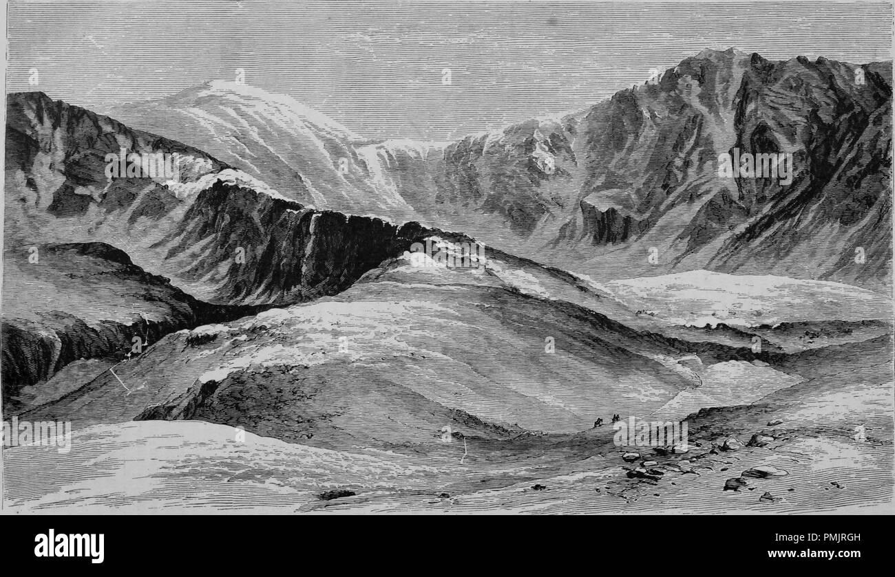 """Incisione di Gray's Peak, la cupola del continente, Colorado, dal libro """"Pacifico turisti"""", 1877. La cortesia Internet Archive. () Immagini Stock"""