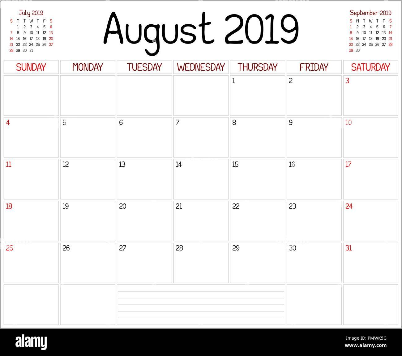 Calendario Appunti 2019.Un Pianificatore Mensile Calendario Per Il Mese Di Agosto