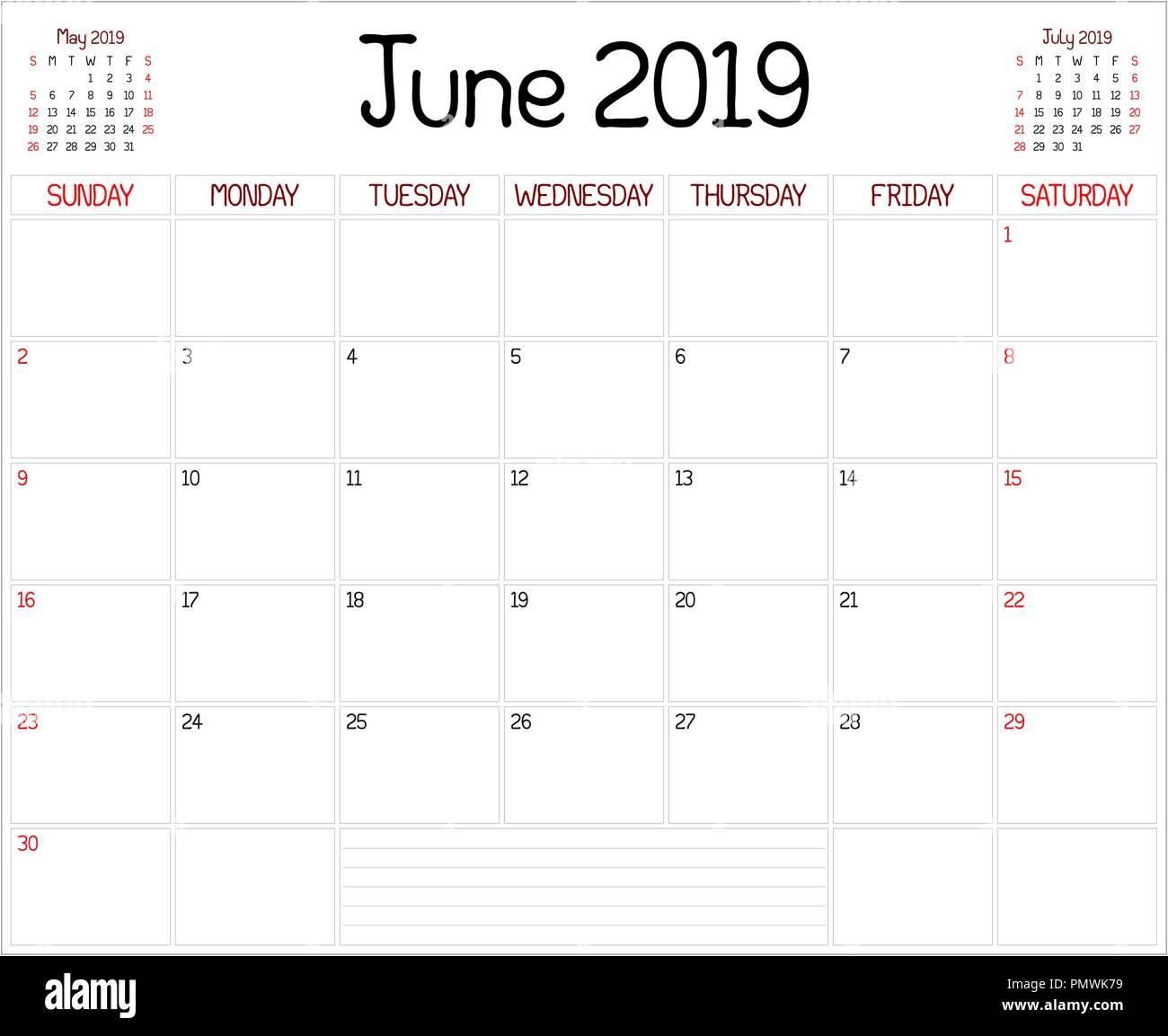 Calendario Mese Giugno.Un Pianificatore Mensile Calendario Per Il Mese Di Giugno