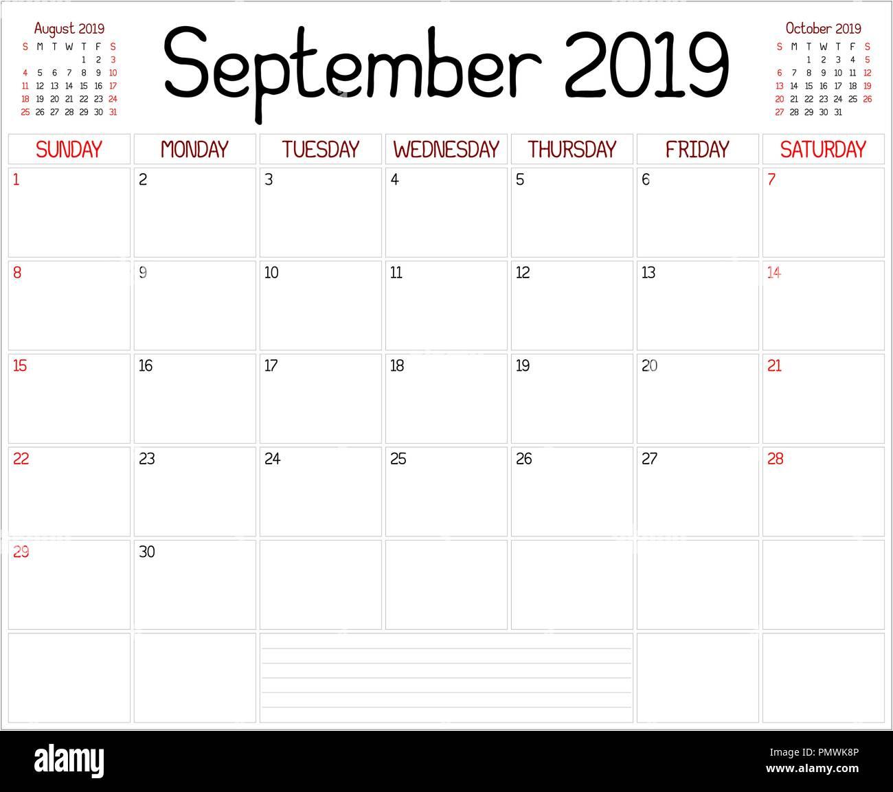 Calendario Mensile Settembre 2020.Un Pianificatore Mensile Calendario Per Il Mese Di Settembre
