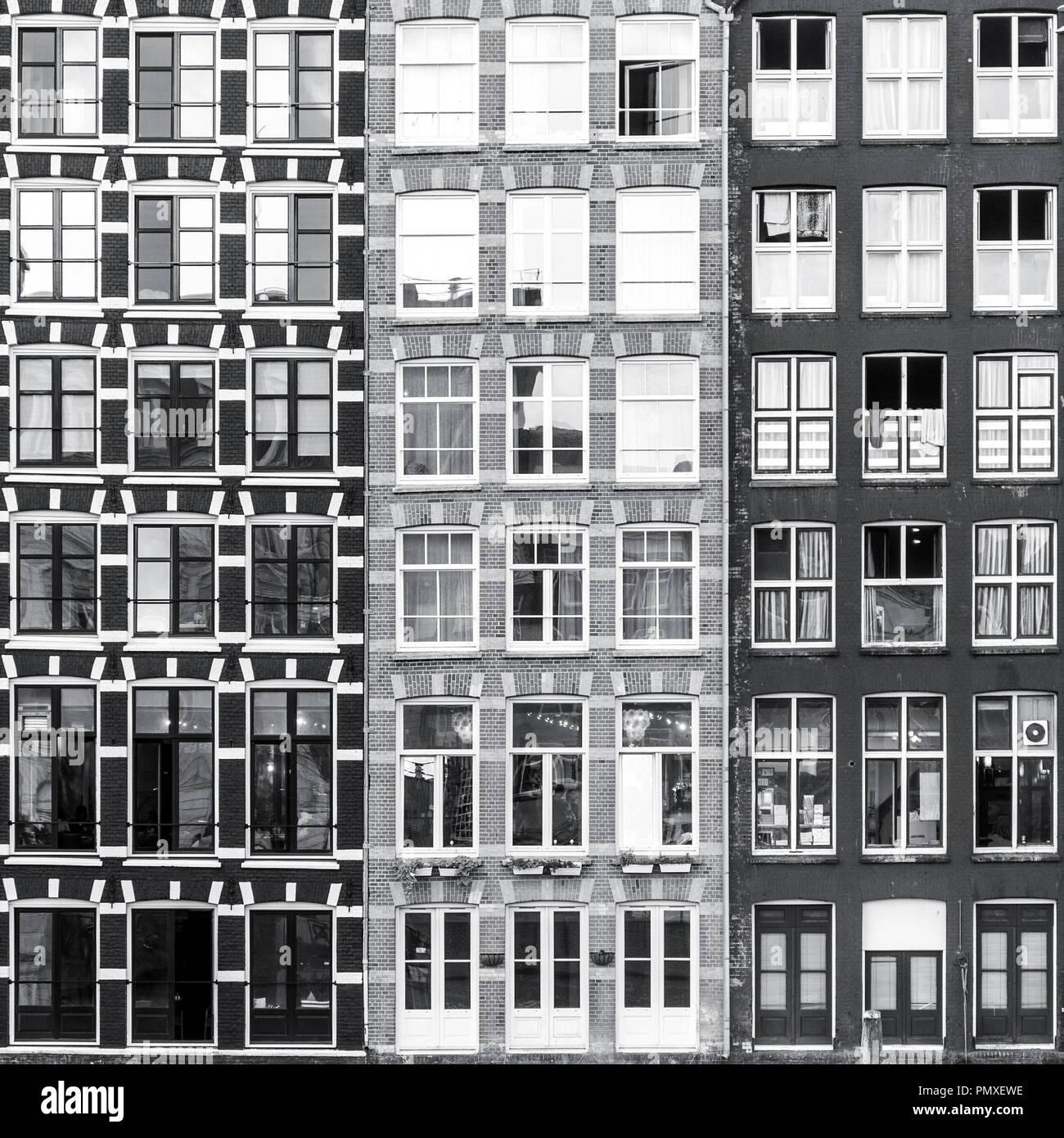 Bianco e nero urbano di Amsterdam sullo sfondo di Windows Foto Stock