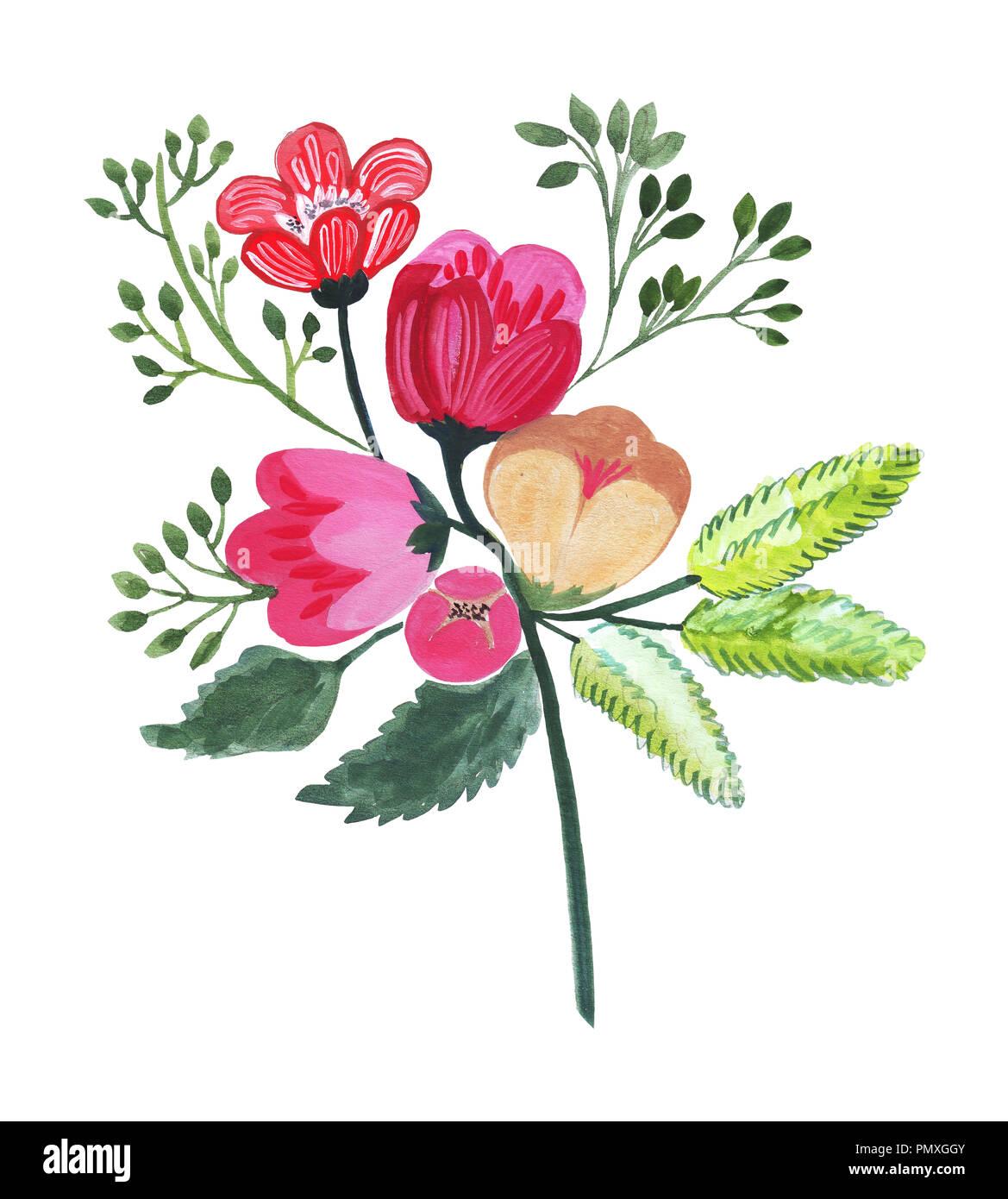 Vari Tipi Di Fiori.Illustrazione Del Disegno A Matita Bouquet Di Fiori In Colori