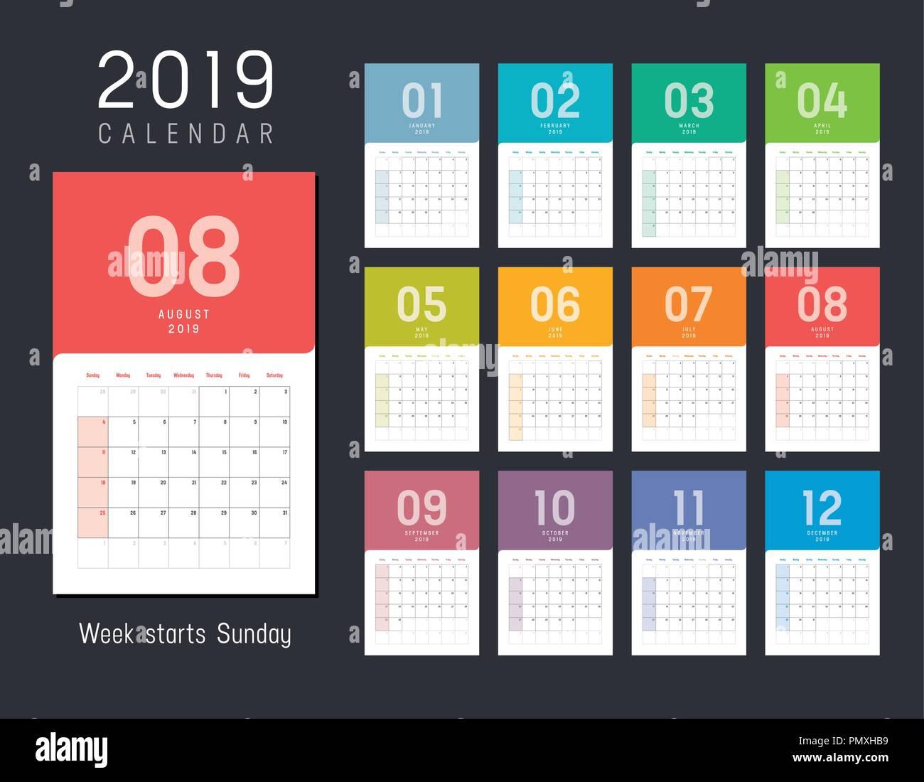 Calendario Settimane Anno 2019.Anno 2019 Calendario Colorate Settimane Inizio Domenica