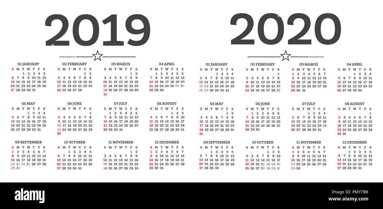 Calendario 2020 Con Numero Settimane.Calendario 2019 2020 Isolati Su Sfondo Bianco Inizia