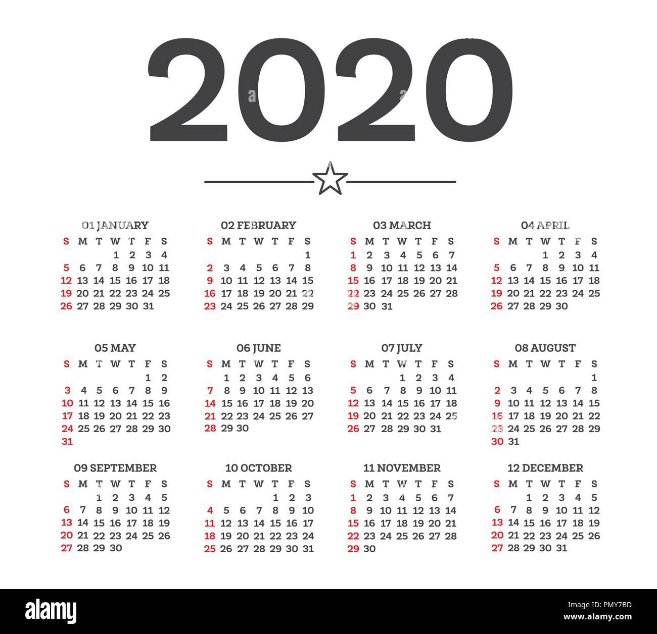 Settimane Calendario 2020.Calendario 2020 Isolati Su Sfondo Bianco Inizia Settimana
