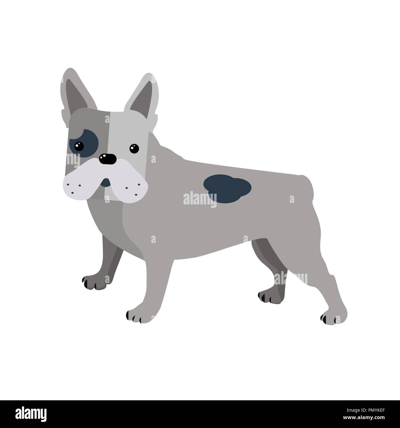 Bulldog In Stile Piatto Isolato Su Sfondo Bianco Grigio Maculato