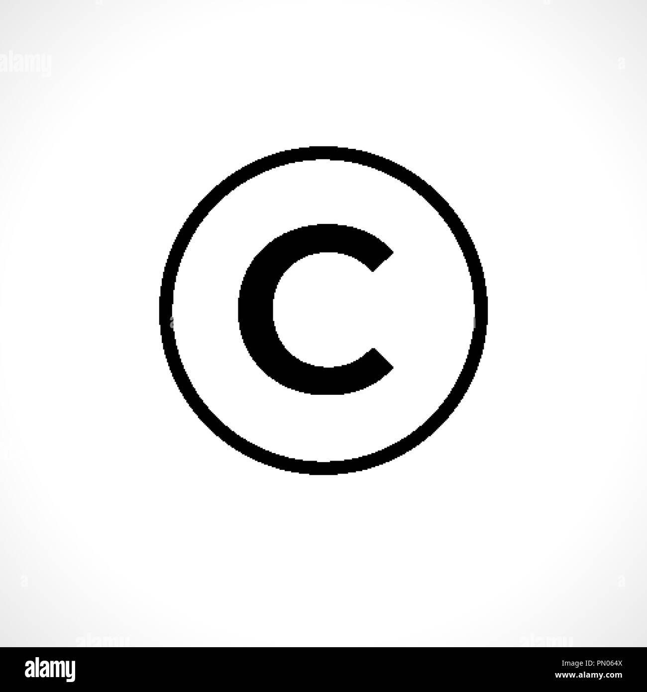Circolare icona copyright isolato su sfondo Illustrazione Vettoriale