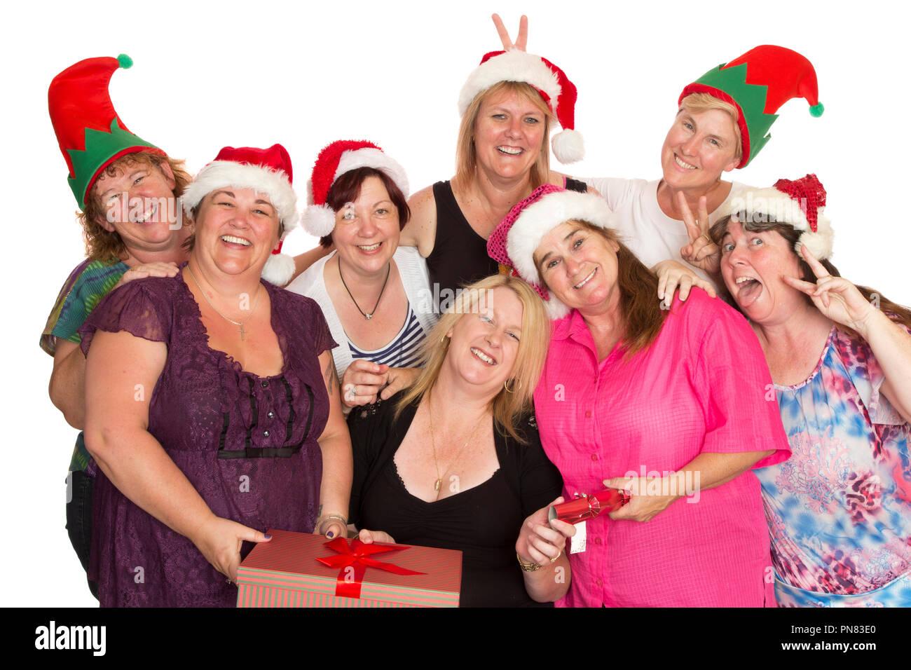 Immagini Natale Donne.Un Folto Gruppo Di Donne Ad Una Festa Di Natale In Posa Per