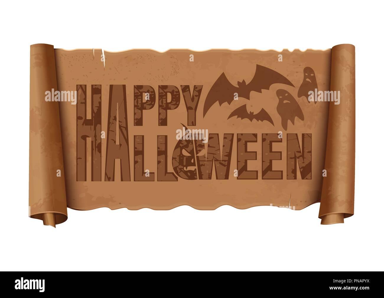 Banner di Halloween design. Halloween scritte su un vecchio usurato vintage scorrere. Illustrazione Vettoriale Immagini Stock