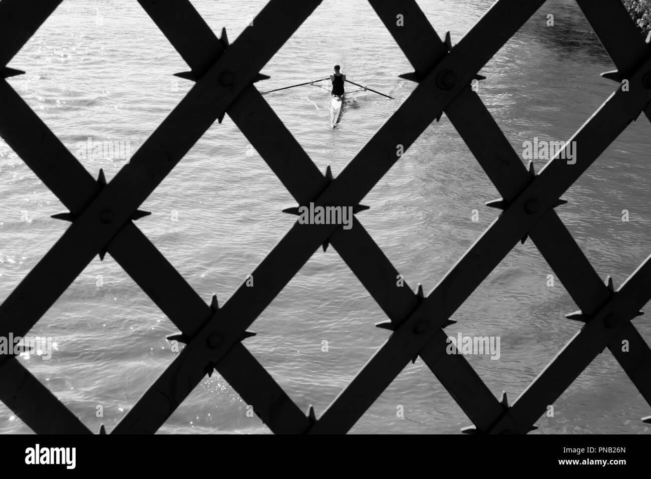 Vogatore sul Tamigi a Hammersmith Bridge, Hammersmith, London, Regno Unito Immagini Stock