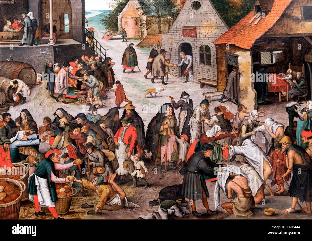 I sette atti di misericordia, copia dopo, o dalla bottega di Pieter Brueghel il Giovane (1564-1638), olio su pannello in legno di quercia, 1600-1650 Immagini Stock