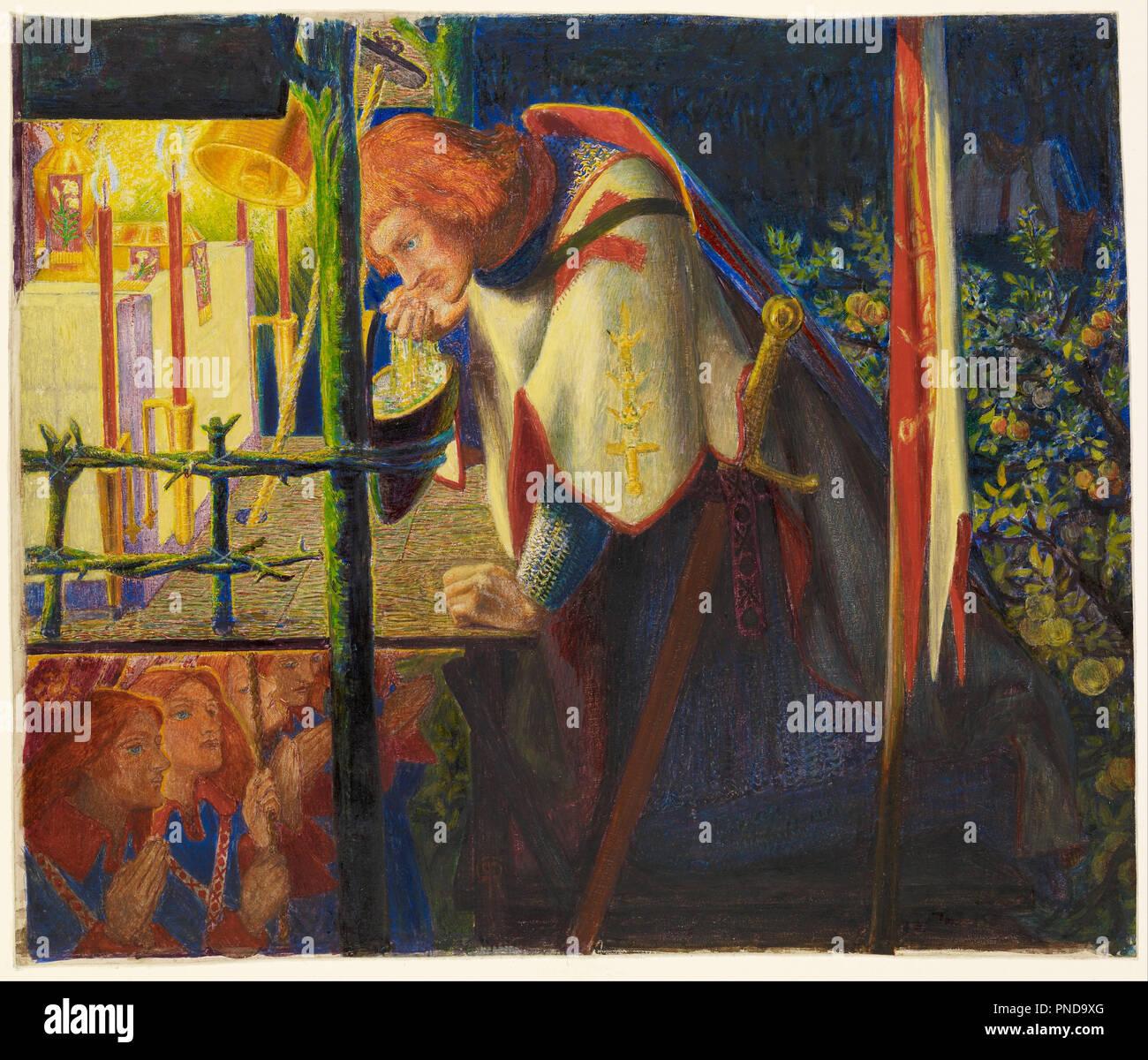 Sir Galahad presso le rovine di una cappella. Data/Periodo: 1857/1859. La pittura. Acquarello e bodycolor con aree di gomma arabica su carta. Larghezza: 345 mm. Altezza: 290 mm. Autore: Dante Gabriel Rossetti. Foto Stock