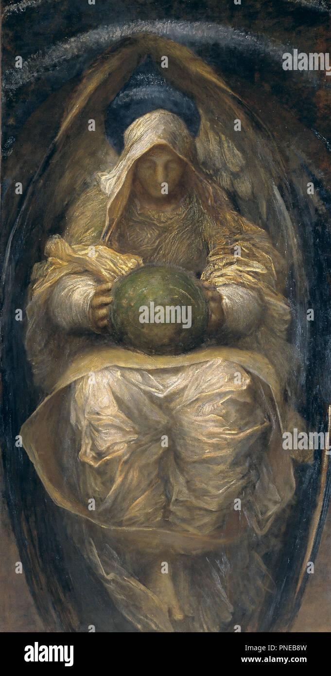 Il All-Pervading. Data/Periodo: ca. 1887. La pittura. Olio su tela. Altezza: 2,135 mm (84,05 in); larghezza: 1,120 mm (44.09 in). Autore: GEORGE FREDERIC WATTS. Watt, George Frederic. Foto Stock