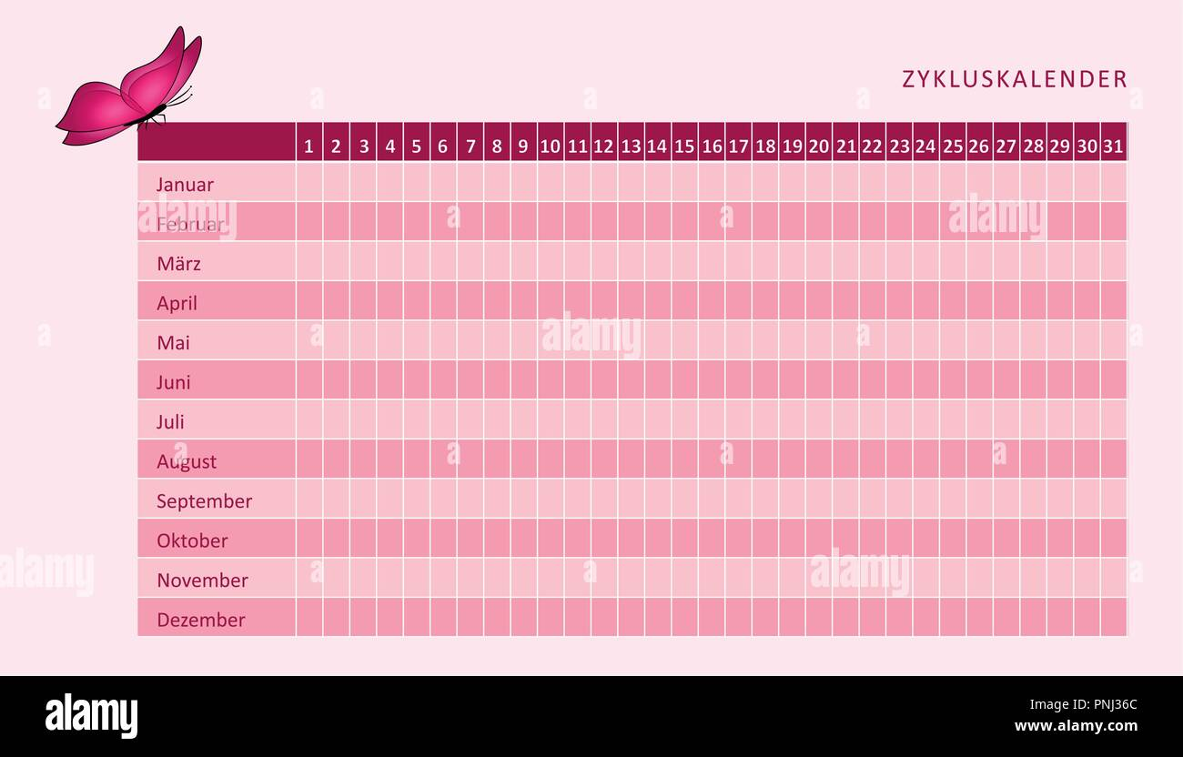 Il Mio Calendario Del Ciclo.Mensile Calendario Mestruale Del Ciclo Mestruale Con Pink
