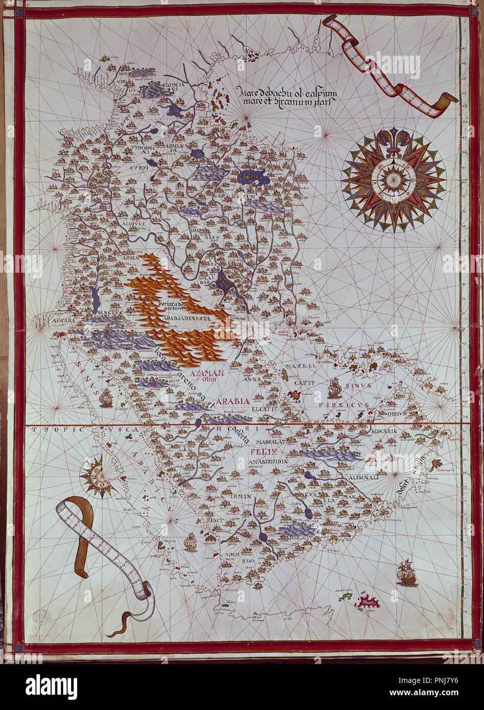 ATLAS PORTULANO ORIENTE MEDIO VIT 20 - Peninsula de ARABIA. Autore: MARTINEZ JUAN O MARTINEZ JOAN. Posizione: Biblioteca Nacional-COLECCION. MADRID. Spagna. Immagini Stock