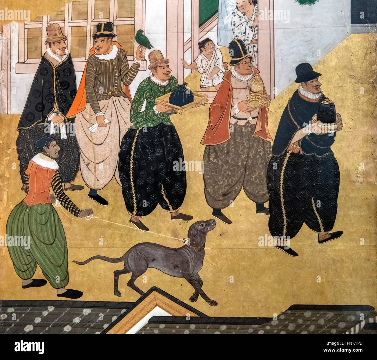 Giapponese schermo Namban attribuito a Kano Domi, (legno, carta, foglia oro, polychrome tempera, seta, lacca, rame dorato), 1593-1600 (Periodo Momoyama). Immagini Stock