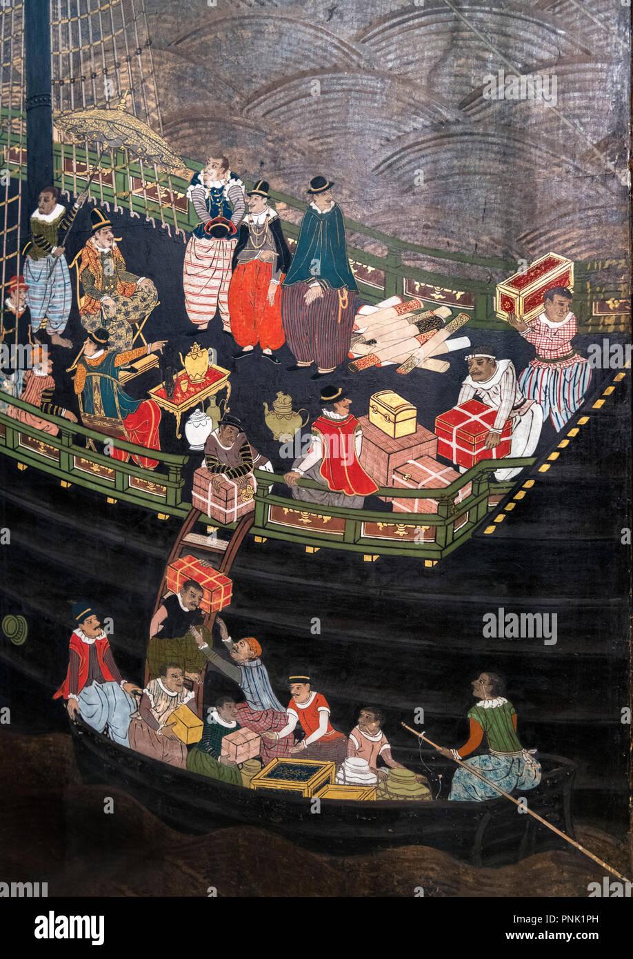 Giapponese schermo Namban attribuito a Kano Domi, tempera su carta, foglia oro, seta, lacca e metallo, 1593-1602 (Periodo Momoyama). Immagini Stock