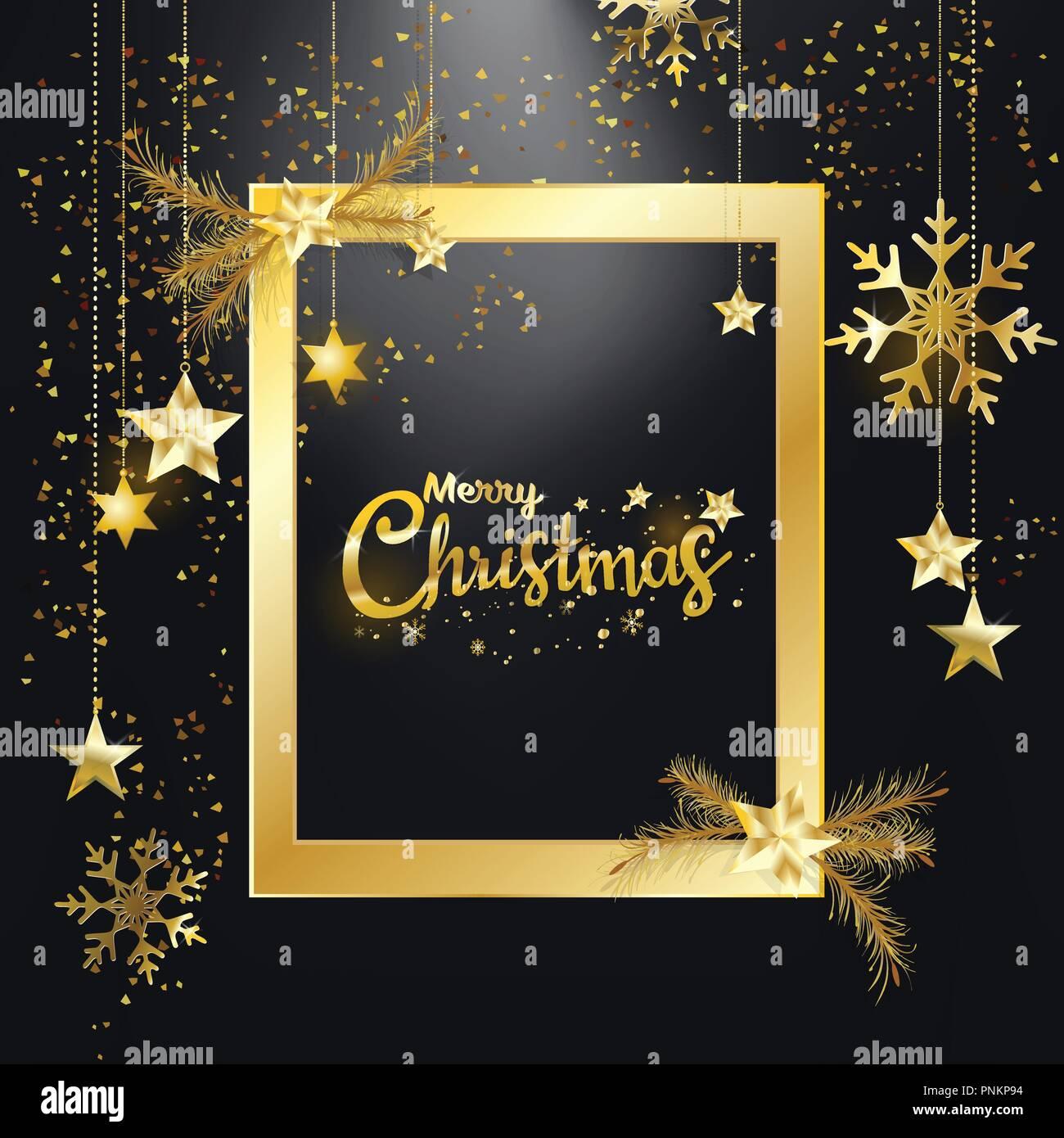 Buon Natale Glitter.Buon Natale E Felice Anno Nuovo Golden Glitter Di Natale Elegante