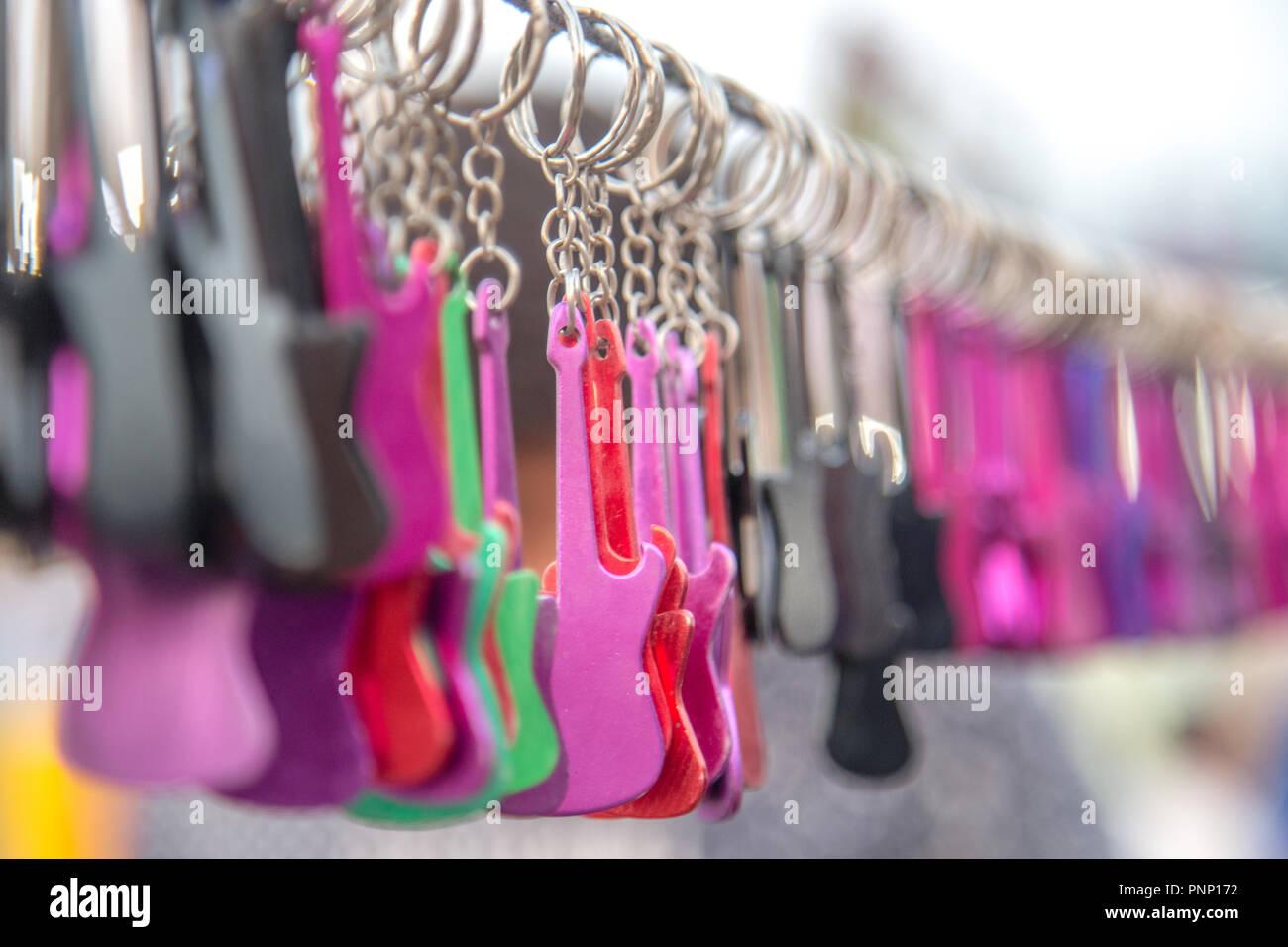 Colorato portachiavi per chitarra Immagini Stock