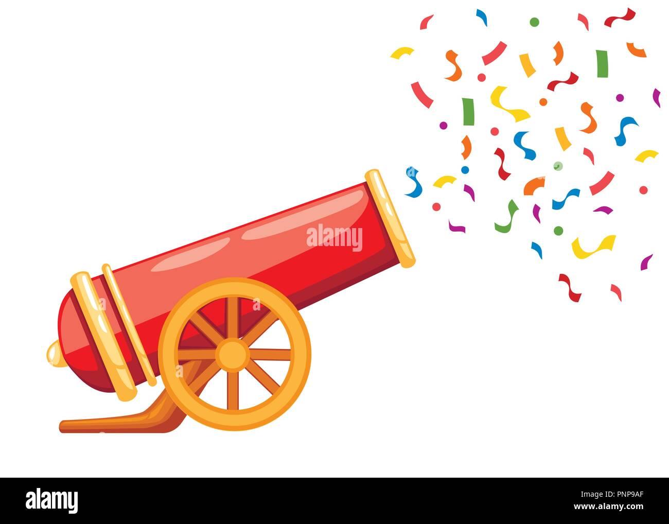 Rosso Antico Colpi Di Cannone Coriandoli Circus Cannon Vettore Di