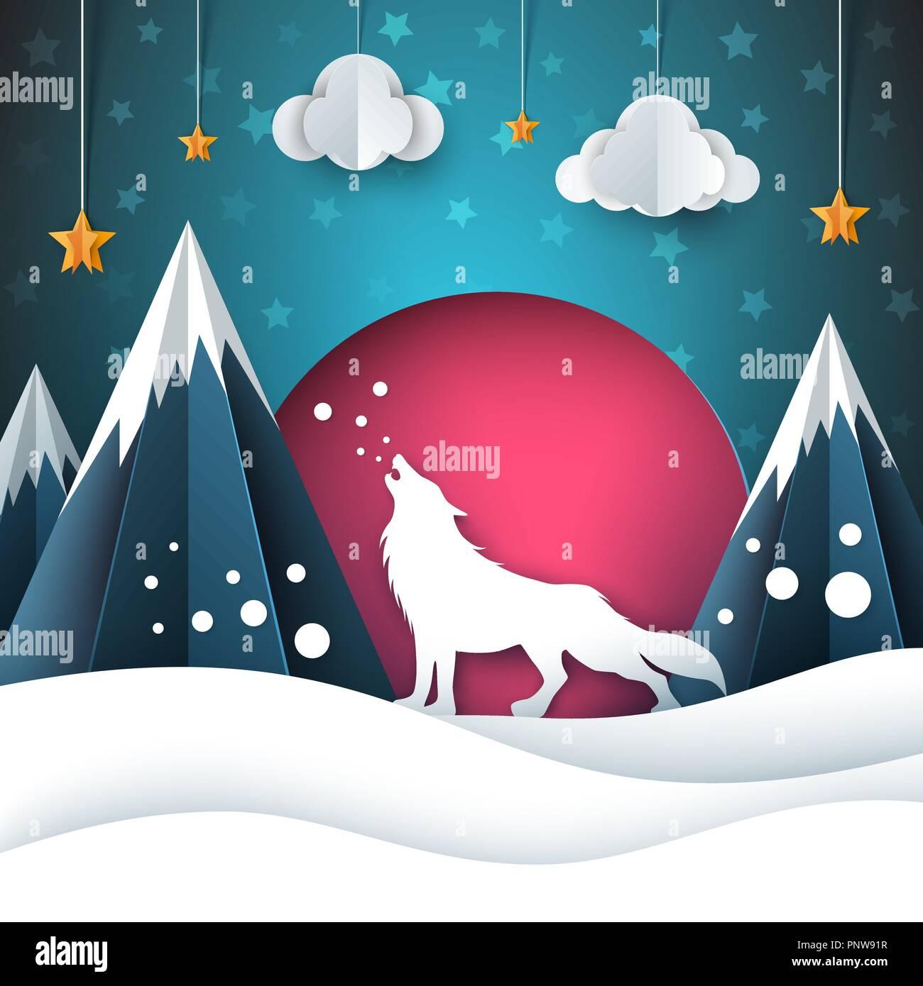 Carta cartone animato paesaggio illustrazione di lupo auguri di