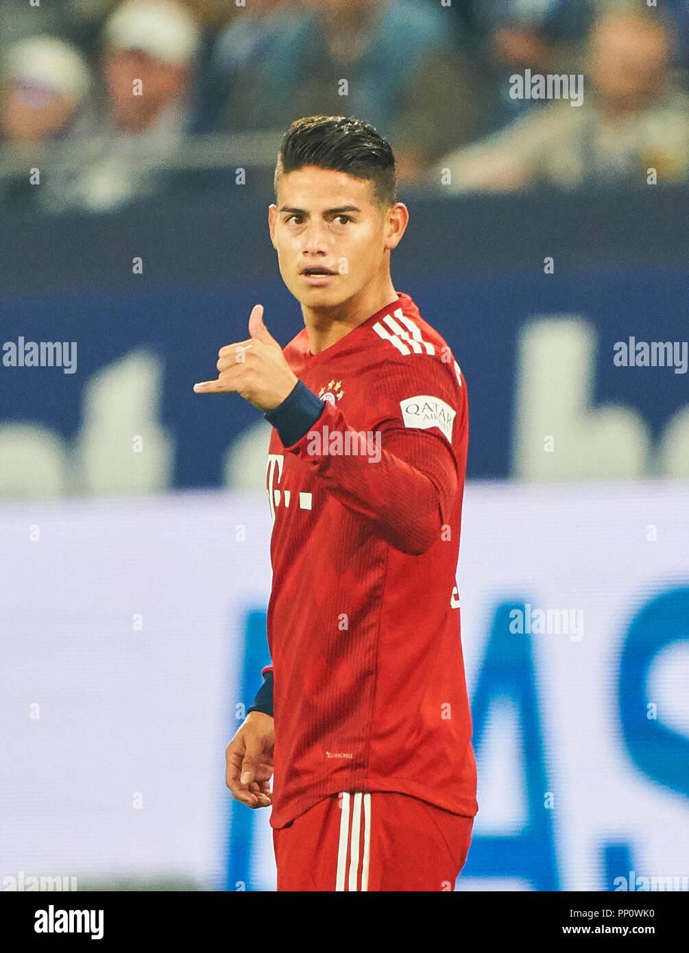 Gelsenkirchen (Germania). 22 settembre 2018. James RODRIGUEZ, FCB 11 celebra il suo obiettivo con 0-1, appendere sciolto segno FC Schalke 04 - FC Bayern Munich - DFL REGOLAMENTI VIETANO QUALSIASI USO DI FOTOGRAFIE come sequenze di immagini e/o quasi-VIDEO - 1.della Lega calcio tedesca , Gelsenkirchen, Settembre 22, 2018, STAGIONE 2018/2019, giornata 4 © Peter Schatz / Alamy Live News Foto Stock