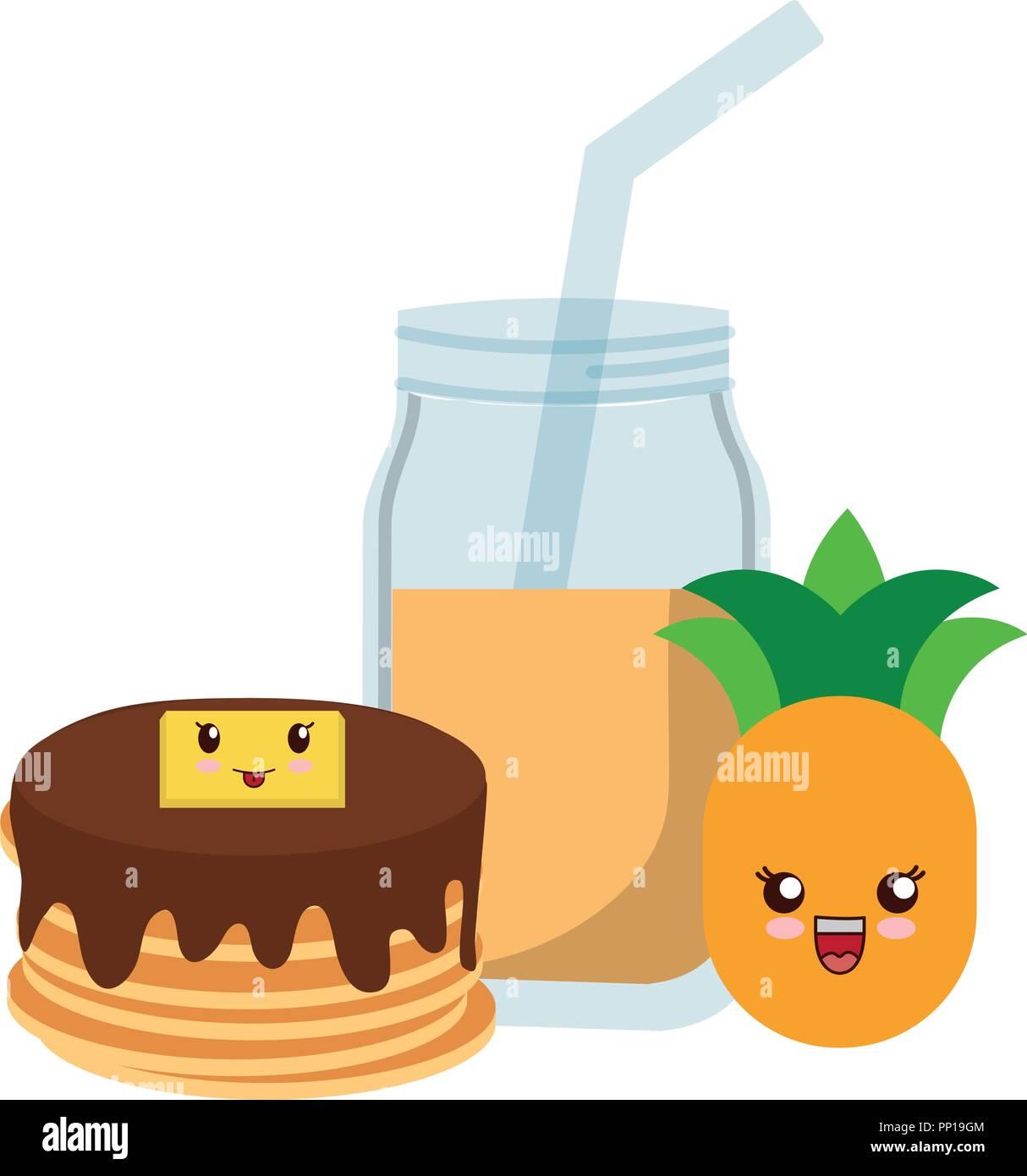Kawaii Pancake E Succo Di Ananas Su Sfondo Bianco Illustrazione