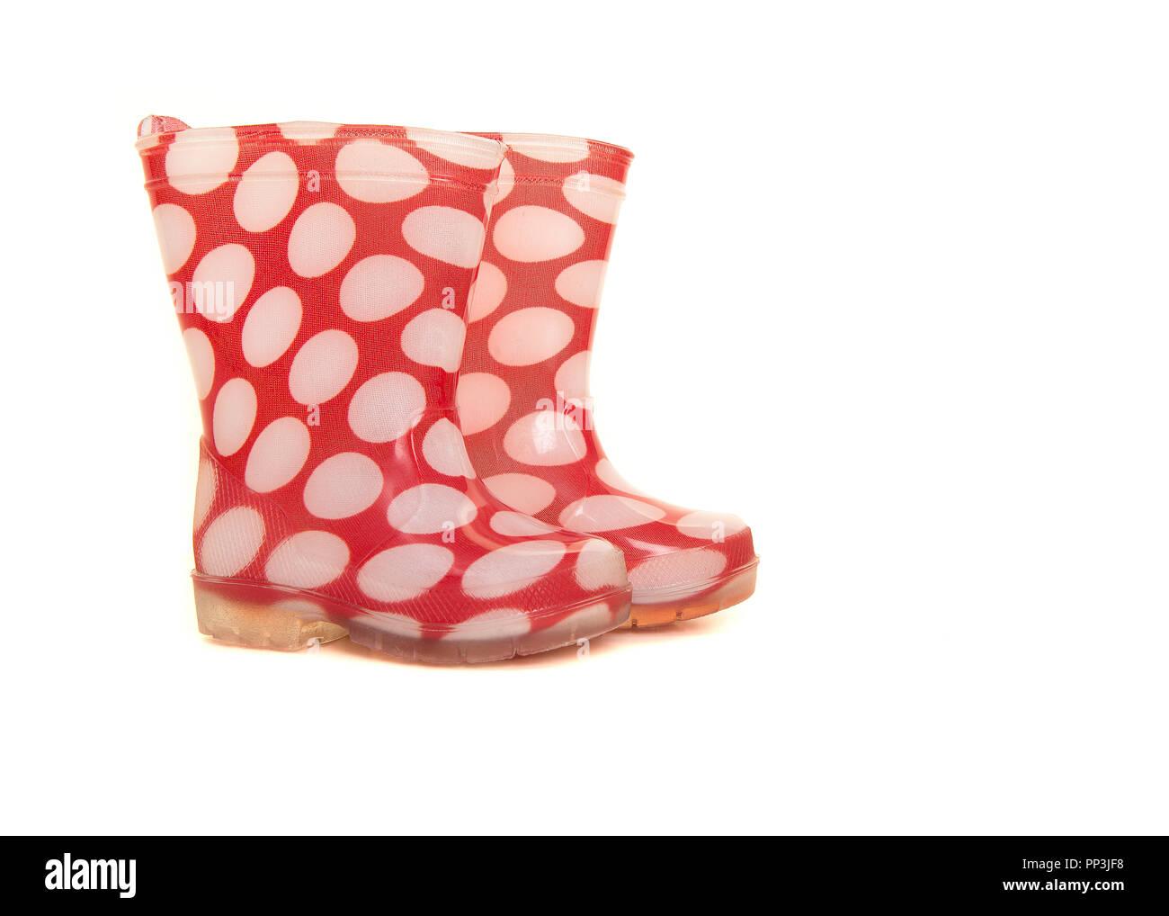 scegli genuino a poco prezzo nuovi prodotti caldi Rosso e bianco punteggiato di polka stivali di gomma per ...