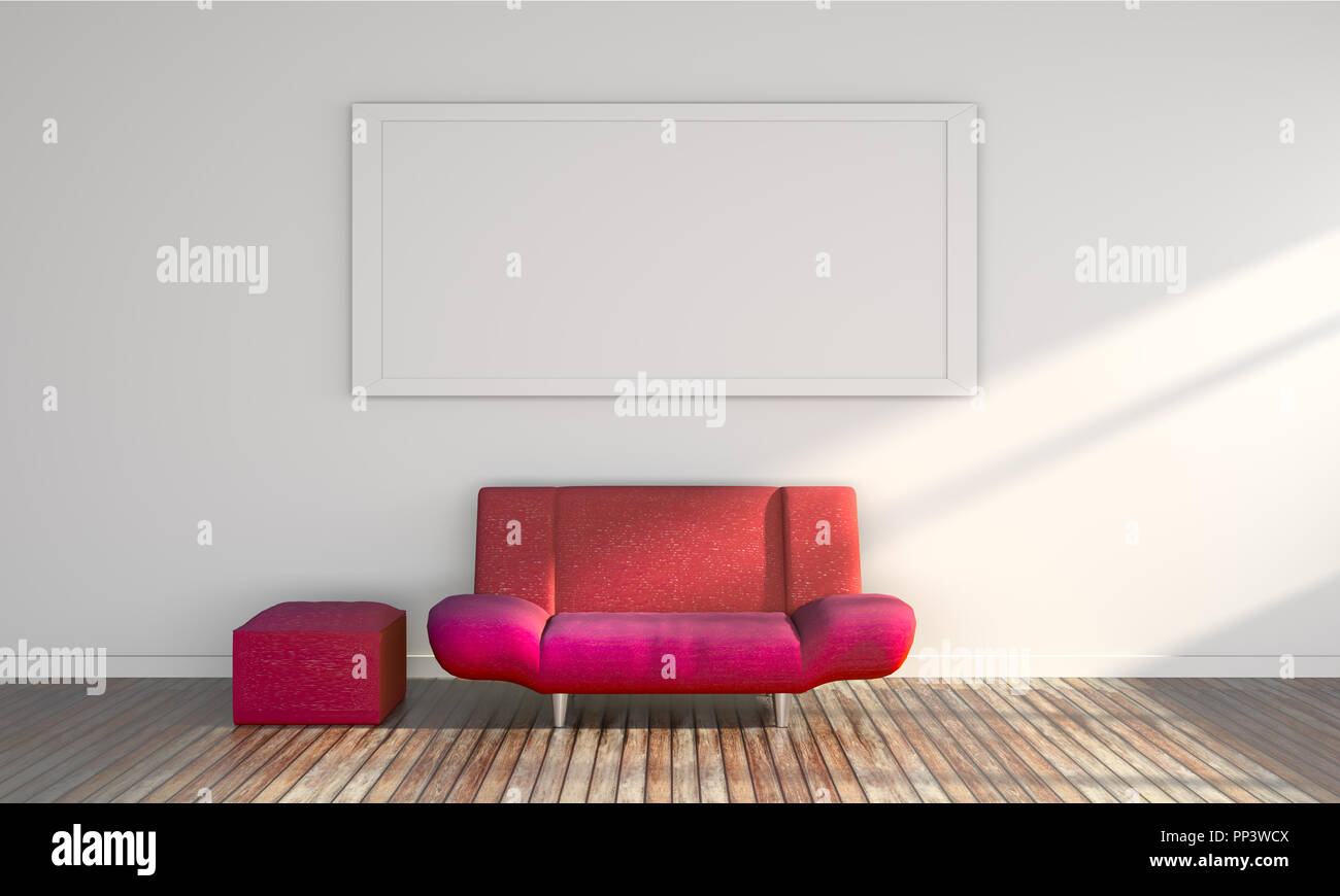 Pavimento Rosso E Bianco : D divano rosso sul pavimento in legno e il telaio sul muro bianco
