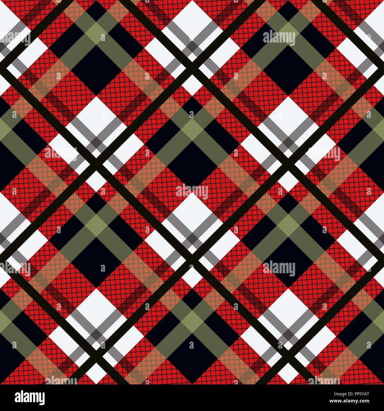 In Tartan Pattern Seamless Sfondo Nero Rosso E Bianco A Quadri
