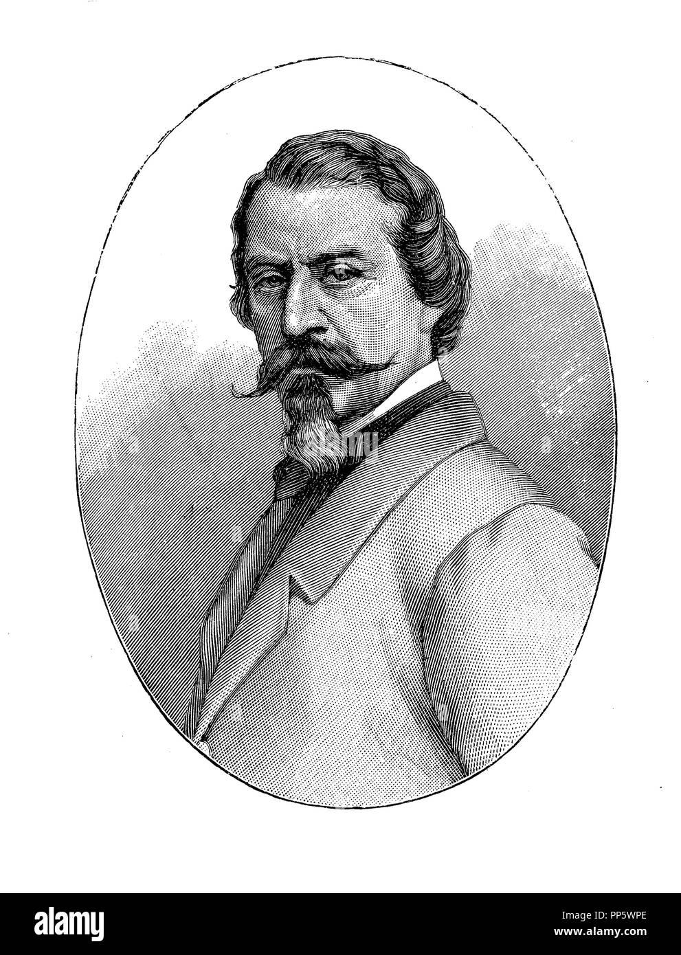 Ritratto di incisione di Aleardo Aleardi (1812-1878), Italiano neo-poeta romantico, membro del parlamento italiano e professore di estetica a Firenze Immagini Stock