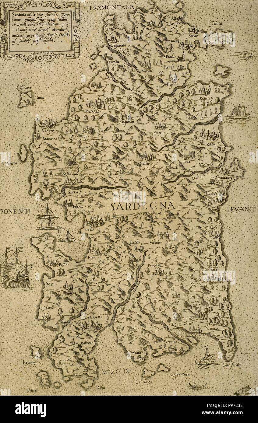 Cartina Antica Sardegna.Mappa Della Sardegna Mare Mediterraneo Incisione Italiana Il Xvi Secolo Foto Stock Alamy