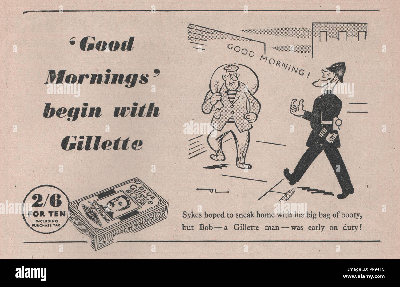 Gillette lame da rasoio vintage annuncio rivista con la linea di