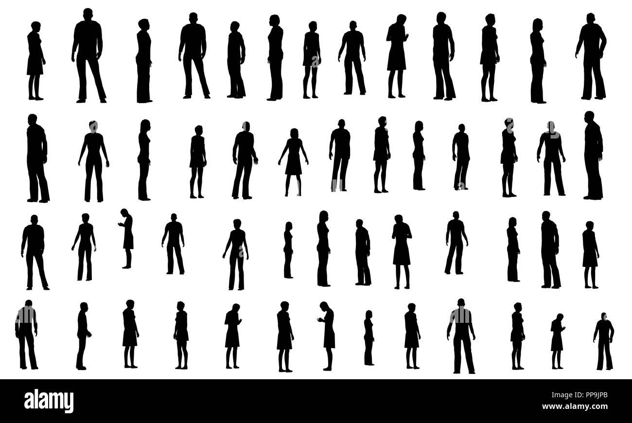 Sagome Persone Nere.Set Di Bianco E Nero Con Sagome Di Persone In Diverse Pose