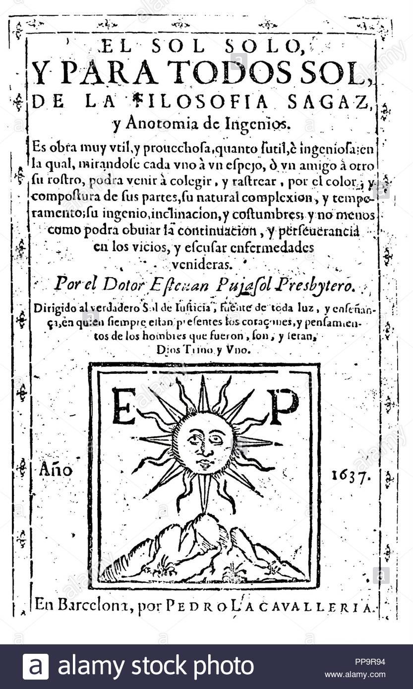 Portada de 'sagaz Filosofía y anatomía de ingenios'. 1637. Immagini Stock