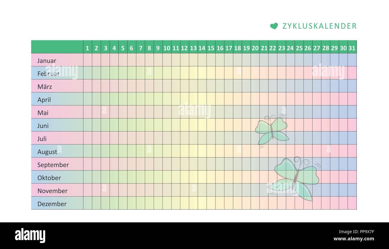 Calendario Del Ciclo Mestruale.Mensile Calendario Mestruale Del Ciclo Mestruale Con