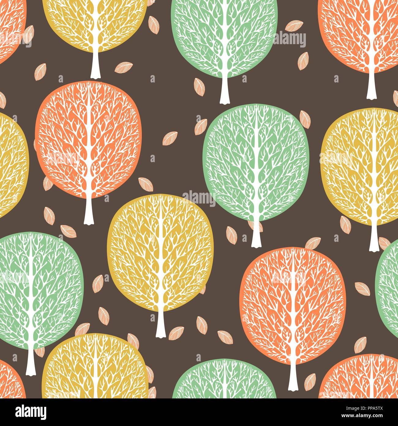 Alberi Astratti Seamless Pattern Illustrazione Vettoriale Foresta